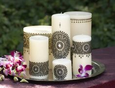 Henna (mehndi design) candles... I love these candles so pretty