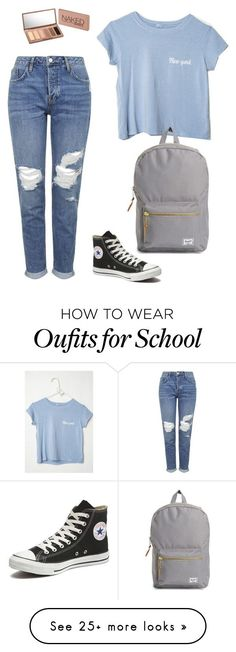 """""""School set #5"""" by loveshoes-1 on Polyvore featuring Topshop, Converse, Urban Decay, Herschel Supply Co., women's clothing, women's fashion, women, female, woman and misses"""