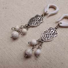 White Owl Gauged Earrings