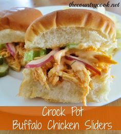 The Country Cook: Buffalo Chicken Sliders (Crock Pot)