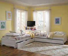 Corner Utilisation with L Shaped Trundle Beds | Girls ...