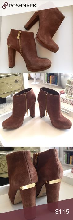 Michael Kors camel brown suede booties Super cute and stylish tall michael Kors booties with gold accents. Don't wear them enough as they're a little too high for my profession and I primarily live in work or workout clothes. They deserve a better home! Size 7.5. KORS Michael Kors Shoes Ankle Boots & Booties