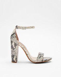 4f60b64182f steve madden snake carrson heeled sandals Snakeskin Heels