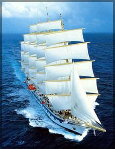 Royal Clipper - largest, most luxurious of the 3 star clipper ships - lovely. I have a picture of me sitting on the front net with a few friends. If you're into cruising, I highly recommend this ship!  Joe and I have been on it twice.