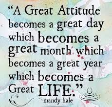 Attitude.  We know people with bad as well as good attitudes, don't we?   Having a good attitude is a conscious effort for many, and is well worth it! Even people that we consider to have great attitudes have bad days, but they know how to move forward, see the bright side of things, and stay positive.  If you need to work on your attitude, why not take it one day, then week, then month, then year at a time?  Before you know it, you will change your life!  activerain.truliia.com