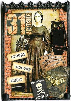 A Nostalgic Halloween Atc - Creepy Spooky Night - a nostalgic halloween atc - gruselige gruselnacht - - thanksgiving art Footprint; Retro Halloween, Vintage Halloween Cards, Halloween Arts And Crafts, Halloween Tags, Holidays Halloween, Happy Halloween, Halloween Parties, Halloween Ideas, Halloween Shadow Box