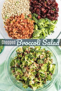 This Chopped Broccoli Salad is fresh, crunchy, and full of flavor. The crisp bacon, chewy raisins, and sweet dressing make it a delicious side for any meal. #broccoli #broccolisalad #saladrecipe #broccolirecipe #FavoriteFamilyRecipes Easy Salad Recipes, Salad Dressing Recipes, Healthy Dinner Recipes, Fast Recipes, Healthy Meals, Healthy Eating, Broccoli Salad, Broccoli Recipes, Main Dish Salads