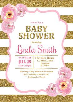 Oro y rosa bebé ducha invitación por StrawberryPartyPrint en Etsy