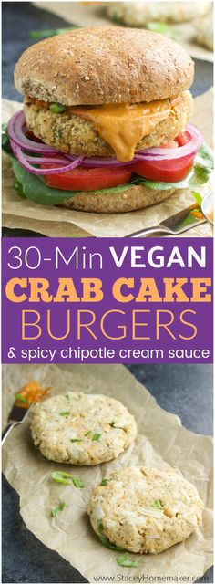 Easy 30-Minute crispy vegan crab cake burgers with all the fixings and a dollop of spicy chipotle cream will be your new favorite burger recipe! Vegan, dairy-free.