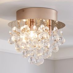 Add a touch of glamour to your home with this lovely Rose Gold ceiling fitting. Featuring clear acrylic ball droplets, this light is sure to add some interest to your home and would suit a range of [ here](https:// to purchase the recommended bulb. Room Decor Bedroom Rose Gold, Rose Gold Rooms, Rose Gold Decor, Gold Home Decor, Bedroom Ideas, Rose Gold Bedroom Accessories, Rose Gold Interior, Teen Bedroom, Bedroom Designs