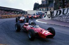 "f1-blog-posts: ""Lorenzo Bandini (Ferrari 1512), Graham Hill (BRM P261) & John Surtees (Ferrari 158), 1965 Monaco GP, Monte Carlo """