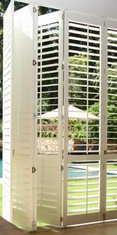 Either exterior or interior window shutters both installation good for privacy & decoration purposes. Basswood shutters might be most popular wood shutters Vinyl Window Trim, Wooden Window Shutters, Red Shutters, Interior Window Shutters, Bermuda Shutters, Interior Doors, Grill Gate Design, Louvre Doors, Shutter Designs