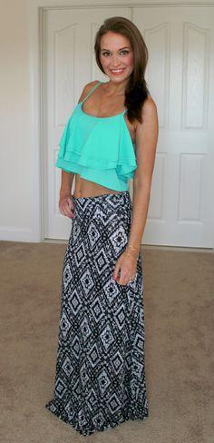 Tribal Maxi Skirt with Ruffle Crop Top   BentleyBlonde   10% OFF Your Order with code: SHORELINEREPWENDY