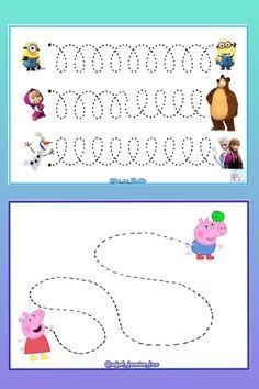 Atividades como estras ajudam a sua criança a treinar a coordenação motora fina. Nursery Activities, Preschool Learning Activities, Preschool Math, Toddler Worksheets, Tracing Worksheets, Preschool Worksheets, Peppa Pig Books, Pre Writing, Fine Motor Skills