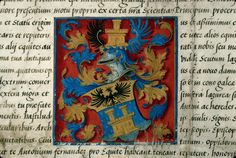 Heraldic detail from letters of nobility granted by Charles Quint, 1532.