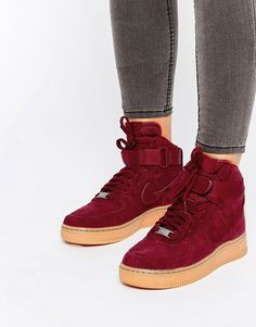 Nike Air Force 1 07 Suede Red Trainers saved by #ShoppingIS