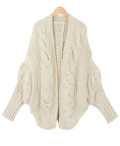 Beige Cable Knit Cardigan with Batwing Sleeves. Knit Shrug. Winter Knit.