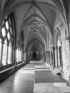 Empty hallway in Westminster Abbey in London, England