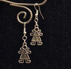 Girl Earrings, Silver, Drop, Dangle Earings (E110) by LKArtChic on Etsy