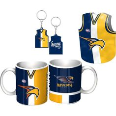 West Coast Eagles Guernsey Giftpack.  This Great Pack Features Guernsey Design Mug, Keyring, & Stubby Cooler.  To see the full range of AFL merch, visit www.shop.afl.com.au