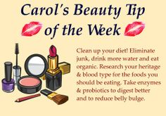 "Time for this week's beauty tip. Do you have any makeup or beauty questions you would like me to answer? Post your question here or on my facebook page and I may answer it in a future ""tip of the week"".  #diet #beauty #detox #organic #probiotics #enzymes #health"