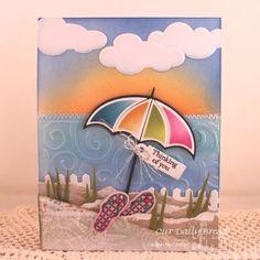 Stamps - Our Daily Bread Designs:Flip Flop Fun, Mini Tag Sentiments, ODBD Custom Dies: Umbrellas, Clouds & Raindrops, Flip Flops,  Grass Border, Fence,  Mini Tags Dies