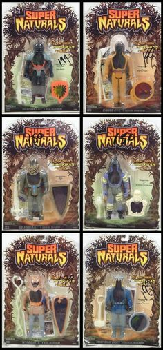 "A set of six characters, mint on blister card, from Tonka's ""Super Naturals"" line of holographic action figures"