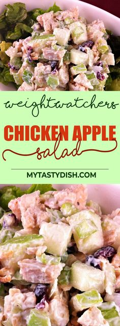 Chicken Apple Salad - come with 5 Weight watchers FreeStyle Smart Points. No Carb Recipes, Ketogenic Recipes, Cooking Recipes, Healthy Recipes, Weightwatchers Recipes, Apple Recipes, Cooking Ideas, Lunch Recipes, Healthy Meals