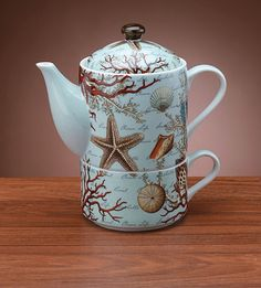 Beach Nautical Decor Tea for One Teapot Tea Cup Set. I swear this is one of the hardest things to find. I have searched for ages and still have yet to find it for purchase.