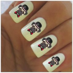 Pug Nail Decals  40 Waterslide Decals by NailPretties on Etsy, $3.95