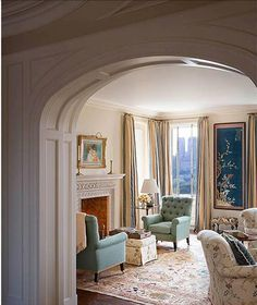 Central Park Aerie in New York Living Eclectic Traditional by Katie Leede & Company Feng Shui, Interior Design Portfolios, Interior Wallpaper, New York City Apartment, Hall Design, Layout, Living Room Inspiration, Home And Living, Living Rooms