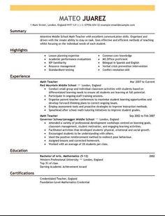 Math Teacher Resume English Teacher Resume No Experience  English Teacher Resume No