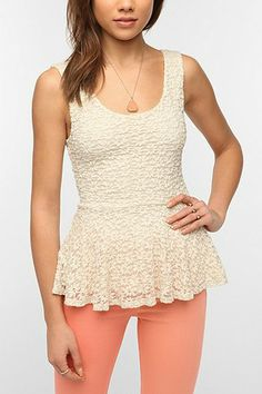 Pins And Needles Daisy Lace Peplum Tank Top | $34.00 | Urban Outfitters