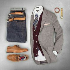 Outfit grid - Stylish layers - The Dapper Touch , Mode Outfits, Fall Outfits, Fashion Outfits, Stylish Outfits, Mode Masculine, Fashion Kids, Look Fashion, Fashion Men, Fashion Trends