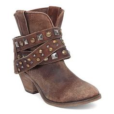 Corral Twyla Western Boot ($159) ❤ liked on Polyvore featuring shoes, boots, brown, round toe cowboy boots, studded boots, rounded toe cowgirl boots, round toe boots and cowgirl boots