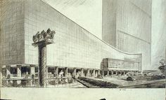 United Nations Scheme - Hugh Ferriss' architectural sketches, 1915-1961