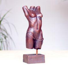 Torso Bronze Sculpture - Erotic Nude Female Figurine. Buy now at http://www.statuesandsculptures.co.uk/physique-bronze-sculpture-erotic-nude-female-modern-figurine