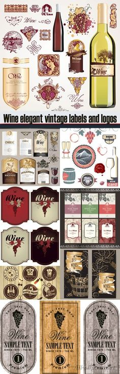 Wine elegant vintage labels and logos