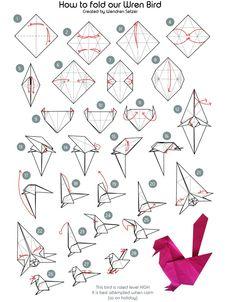 Papierfalter Wren Bird Origami The Wren Design origami Bird design Origami origami bird Papierfalter Wren Origami Rose, Origami Ball, Dragon Origami, Chat Origami, Instruções Origami, Origami Simple, Modular Origami, Origami Folding, Paper Crafts Origami