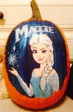 Elsa painted pumpkin Pumpkin Painting, Pumpkin Art, Pumpkin Ideas, Pumpkin Carving, Princess Art, Princess Zelda, Halloween Crafts, Halloween Ideas, Frozen Pumpkin
