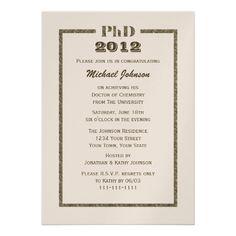 PhD Doctorate Graduation Invitation - Metallic at Zazzle.ca