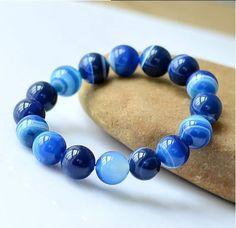 Unisex 6 mm Natural ágata pulseira Aquamarine elegante azul contas pulseiras Venda em www.seupoder.com.br