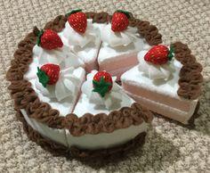 Felt strawberry cake.