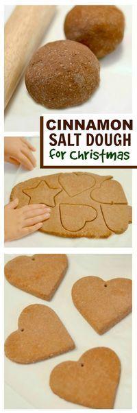 NO COOK CINNAMON SALT DOUGH- the easiest way to make cinnamon ornaments for the tree!