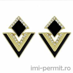 Hot Sale Brincos Colorful Enamel Rhinestone Party Earring Geometric Drop Triangle Earrings for Women Fashion Accessories Jewelry Rhinestone Earrings, Cute Earrings, Drop Earrings, Gold Fashion, Fashion Jewelry, Fashion Fashion, Vintage Fashion, Vintage Mode, Triangle Earrings