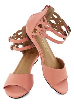 Sarasota Fountain Sandal in Sherbet - Low, Faux Leather, Pink, Solid, Cutout, Summer, Good, Strappy, Daytime Party, Variation