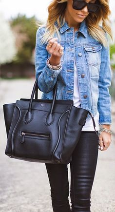 Leather + denim // weekend style