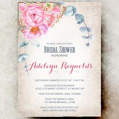 Floral Bridal shower Invitation printable - wedding shower invitation, pink bridal shower invitation by Printable and printed Wedding Invitations by Divine Find Paperie Rustic Bridal Shower Invitations, Bridal Shower Rustic, Wedding Invitations, Boho, Printable, Country, Printed, Pink, Products