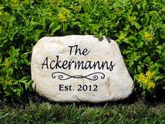 engraved natural blue stone address marker custom engraved with