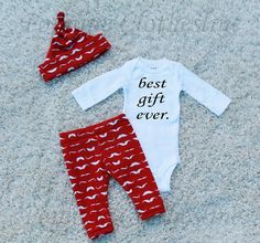 Mustache Baby Boy OutfitBest Gift Ever by PopNineClothesline
